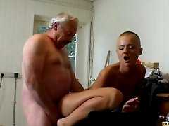 Skinhead girl and old man
