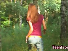 Teen girl sucking cock in forest