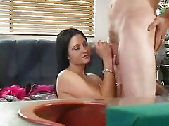 Black Haired Cutie Strokes Cock