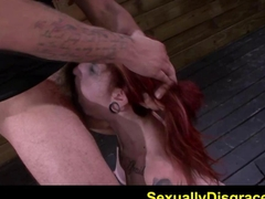 FetishNetwork Sheena Rose bound slave gets giant dildo