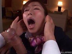Dashing Asian lass face fucking a huge dong till she gets a facial cumshot