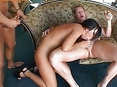 Deepthroat and deep anal with milf in group