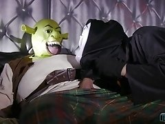 Halloween cowgirl cock riding with masked Amy Pink and her man