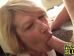 blonde english milf sucks hard cock while being a cute sub