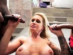 Big tits milf double penetration with facial