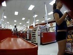 Slender amateur teen with a heart-shaped ass on hidden cam