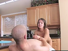 Brunette short haired girlfriend gets hardcore banged in the kitchen