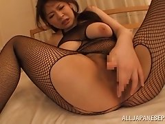 Japanese skank wearing bodystocking gets her snatch smashed