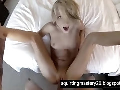 skinny blonde spreads her legs for her friend's hard penis and the best cum ever