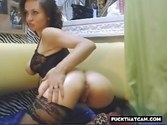 Nice babe strips off her underwear then masturbates and fucked her shaved pussy