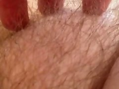Teasing his wife's pubic hair on cam