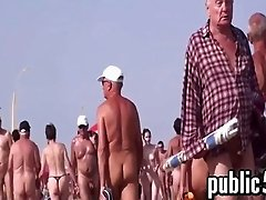 Nudists Walking Around Out At The Beach