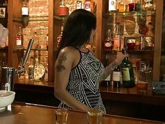 Busty inked shemale bartender passionately takes her male customer's ass