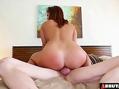 Stunning brunette spreads her legs for a handsome fellow