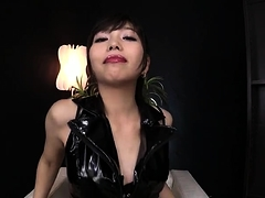 Sensual Asian dominatrix in latex knows how to please a cock