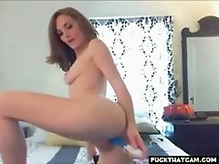 Sexy blonde babe on webcam toying her horny pussy and enjoying