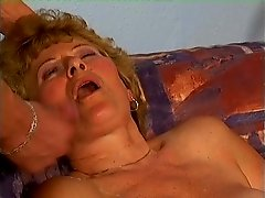 Granny gets it hardcore from behind after BJ then takes facial