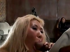Enchanting blonde with long hair being feasted hardcore doggystyle in mmf sex