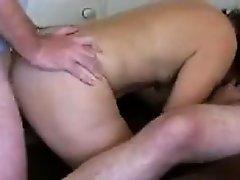Amateur MILF in a threesome