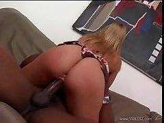 A white girl gets her pussy and ass plowed by a big black cock