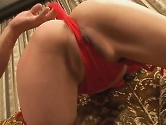 Cock humping skinny and long legged babe in red stockings