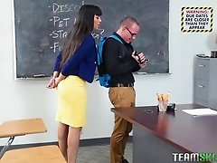Big tits teacher bending over while getting pounded hardcore