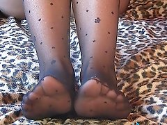 Heavenly black stockings for a graceful Italian model Sara