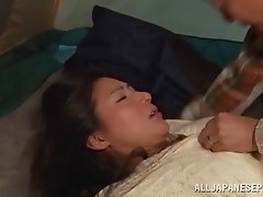 Two horny Asian tarts get banged in hardcore foursome scene