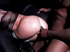 Griddy interracial anal scene with hot big titty blonde
