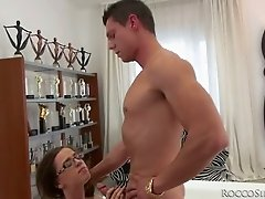 Four eyed pretty GF Megan Maze performs horny stud with stout fellatio