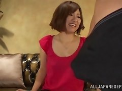 Japanese slut shows her cunt to a guy and lets him lick it