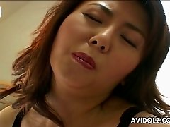 Big breasted alone Japanese sexy lady Maria Yuuki tickles her twat