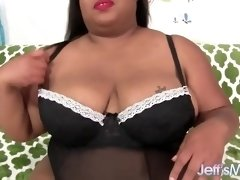 Chubby black girl using sex toys