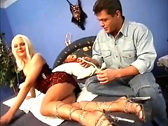 Gorgeous blonde bends over for a nasty lover's hard prick