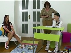 Perverted mature woman makes two girls Olga & Luba kiss