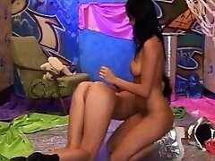 Black emo girl teen Hairy Kim and smooth-shaven Janet