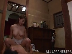 Asian pornstar gets her face fucked after riding a dong cowgirl style