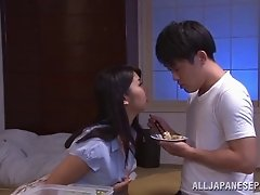 Marina Shiina naughty Asian milf enjoys sucking cock