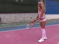 Gorgeous blonde tennis players rubs her clitoris after a tiresome game