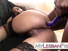 rough black woman doing some serious anal domination on ebony babe