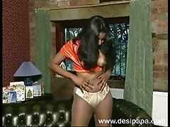 Playful Indian skank pokes her twat with dildo