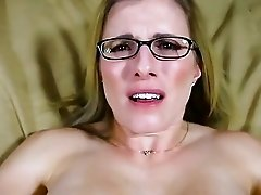 Busty mom in glasses receives two mouthfuls of boy cum