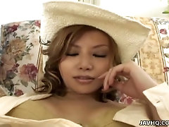 Wearing cute cowgirl hat Japanese gal Hotura Akane gets pussy masturbated