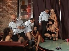 Evening at the strip club turns into a big orgy with hotties