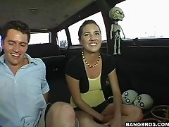 Nasty girl is glad to be doggy style fucked in the minivan