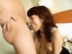 Mai Satsuki in elegant dress has cunt licked, fingered and