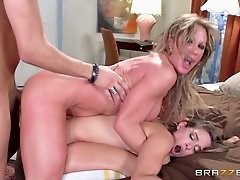 Step mom jumps in to have a wet, hardcore threesome
