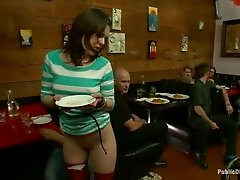 Bare assed waitress Juliette is punished by a group of kinky people