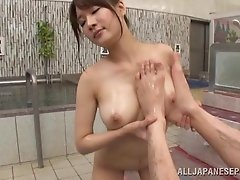 Japanese Av model gets her tight cunt banged in bathroom after being oiled