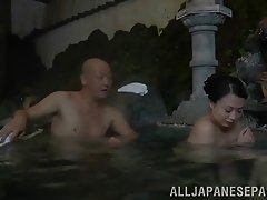 Desirous Japanese cougar with big tits enjoys a wild fucking outdoors
